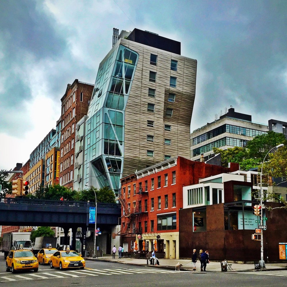 High Line 23 in the Chelsea neighborhood of NYC by architect Neil Denari.  The Chelsea neighborhood is a great example of a place that embraces the old and new.
