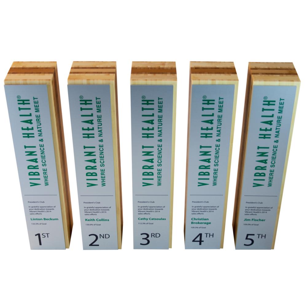 classic custom award trophy green in bamboo