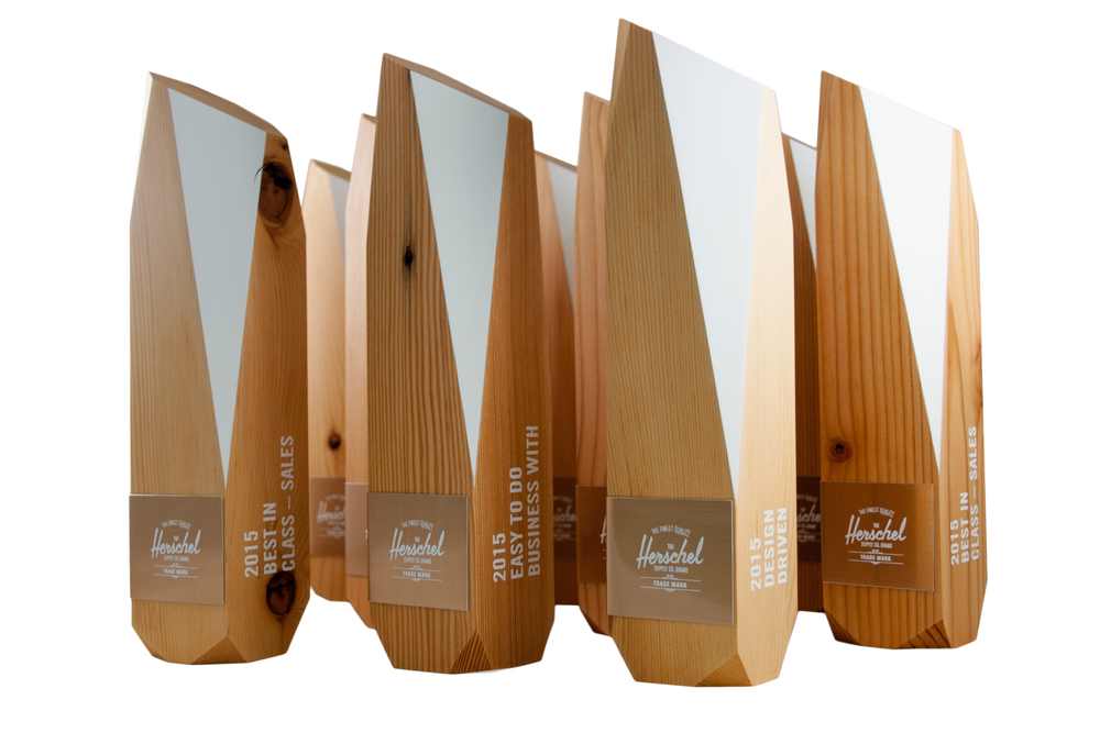 herschel custom recovered eco awards green environmentally friendly not glass or crystal