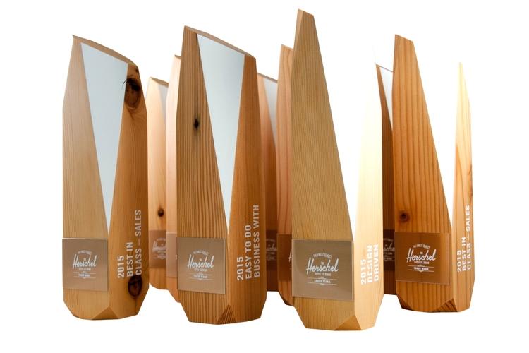 herschel eco friendly recovered wood award trophies custom