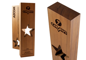 aecom recovered wood star eco-friendly custom award design