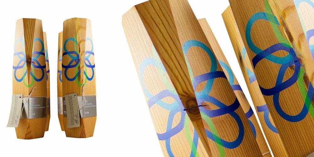 Brooksfield recovered sustainable douglas fir pine beetle wood custom award trophy uv print aluminum amazing modern design