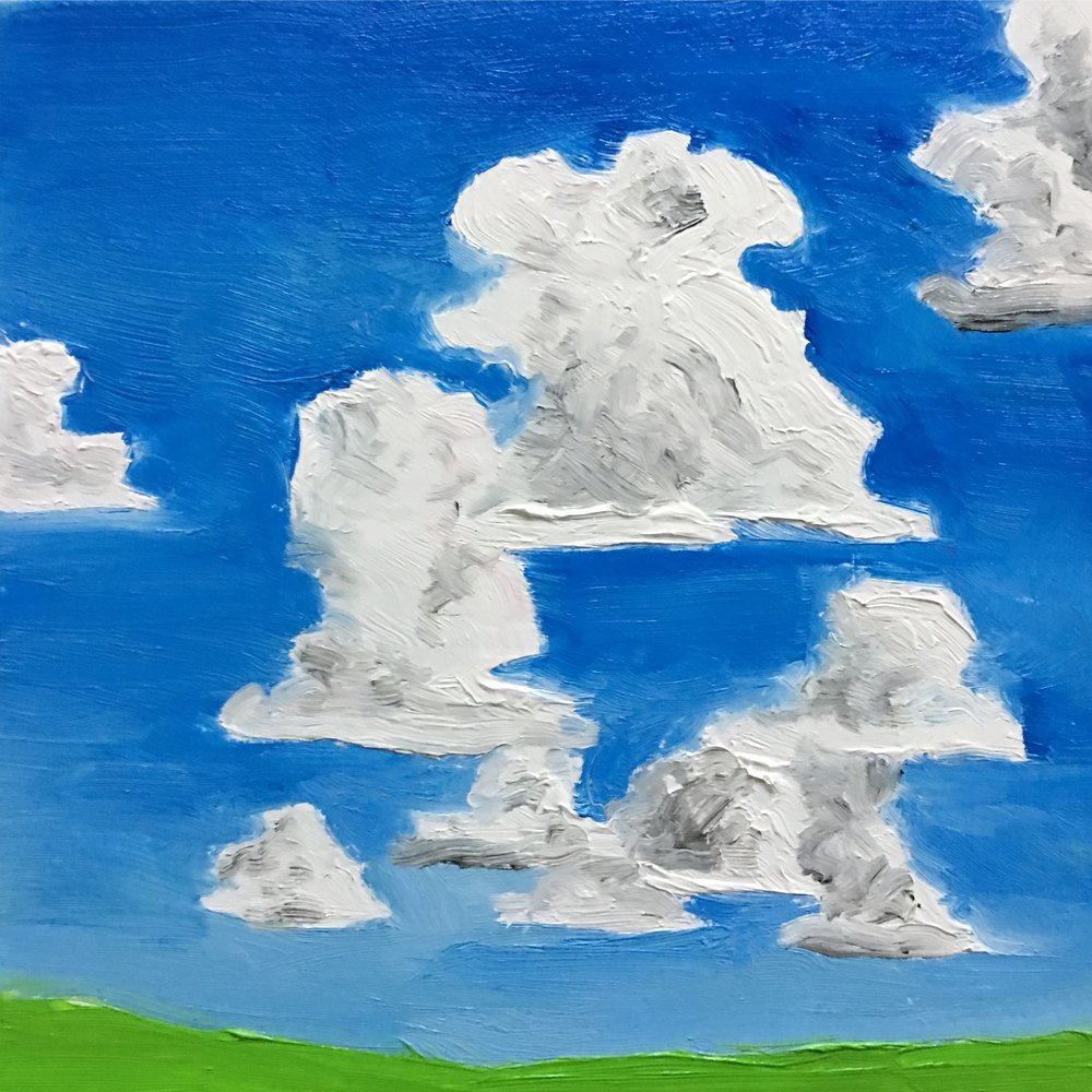 Yesterday I was sick, but I caught glimpses of the sky, so I decided to paint it for today's painting.