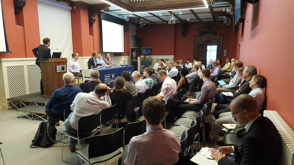 Tim Kruger moderates a panel discussion on biological carbon sinks at the Oxford Greenhouse Gas Removal Conference.