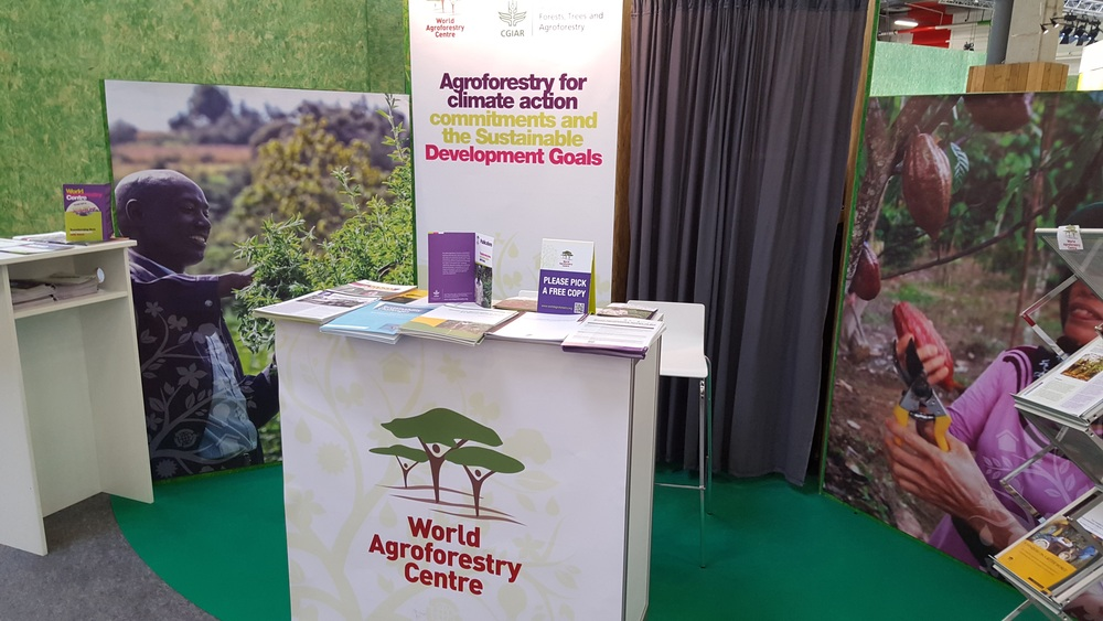 Agroforestry on display in the Blue Zone at the Le Bourget COP21 site