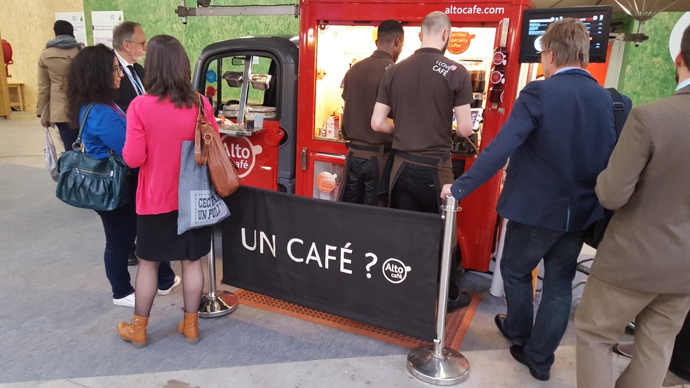 "Spotted at UN climate negotiations: ""Un cafe?"" or ""U.N. cafe?"""