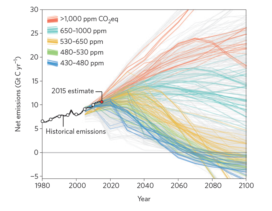 Integrated assessment modeling from the Global Carbon Project shows negative emissions prevalent across climate scenarios.