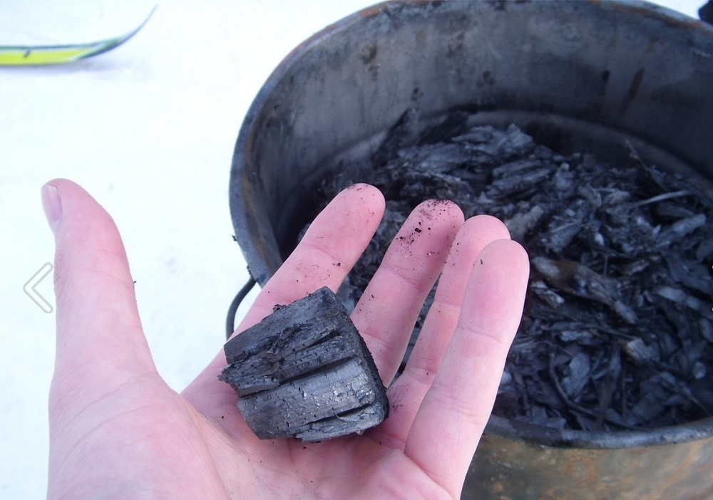 Pictured above: Biochar product created during a slow pyrolysis process