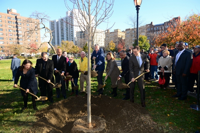 Source: NYC Million Trees -- The planting of the 1 millionth tree in the Bronx.