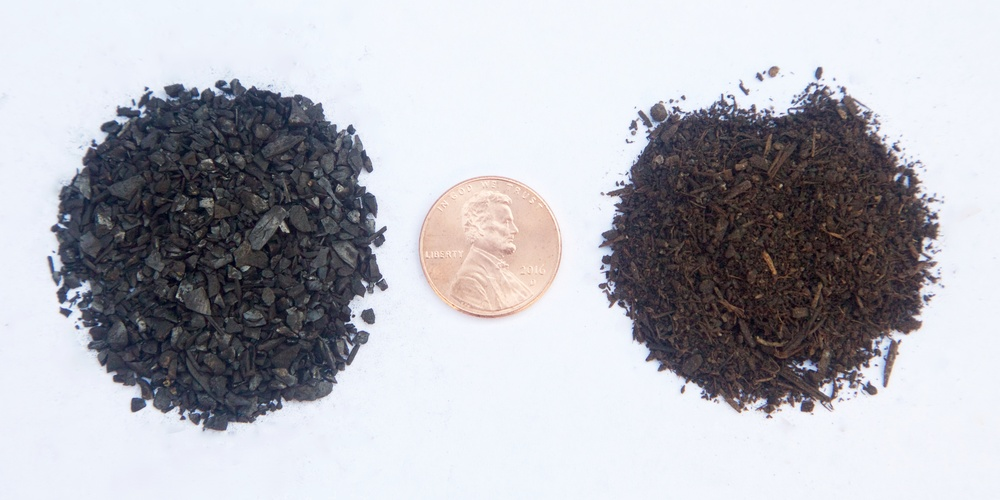 "Samples of Element C6's ""Turf Rescue"" biochar-based soil amendments"