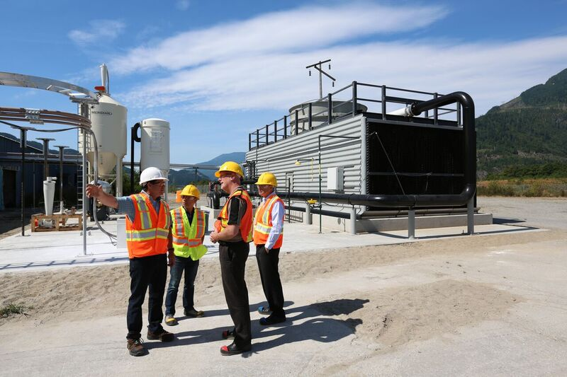 "Above:    Carbon Engineering    has developed a direct air capture pilot project in Squamish, BC capable of ""mining the sky"" for CO2 that can be converted into renewable synthetic fuels or sequestered underground to produce ""negative emissions."""