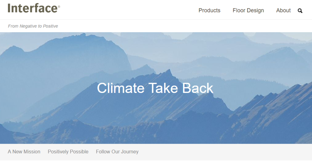 "Above:  Interface's ""Climate Take Back""  initiative is one example of corporate leadership engaging in carbon removal today. Photo source: Interface"