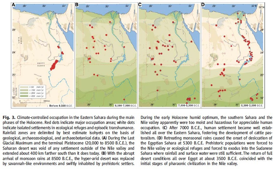 Picture shows the climate-influenced occupation of Eastern Sahara during the Holocene. Source: Kuper and Kröpelin 'Climate-controlled holocene occupation in the Sahara: motor of Africa's evolution'
