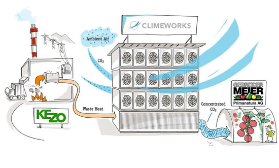 Climeworks entry point into the DAC market is CO2 for enhancing greenhouse yields.