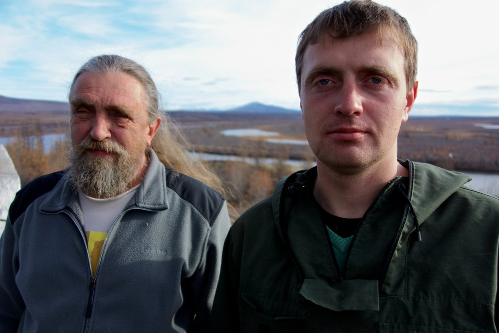 Father and son ecosystem scientists, Sergey (left) and Nikita (right) Zimov, in Pleistocene park. Image courtesy of Luke Griswold-Tergis