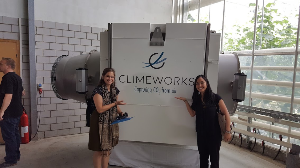 Giana Amador (Center for Carbon Removal) and Jessica Lam (ClimateWorks Foundation) at the launch event of the Climeworks direct air capture facility in Switzerland.