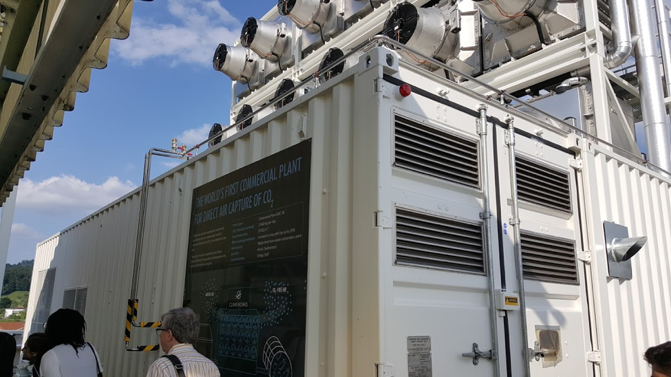 Climeworks direct air capture machine capturing 900 tons of CO2 per year.