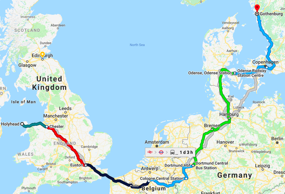 Holyhead, Ireland to Gothenburg, Sweden by train and ferry. Source:Google Maps