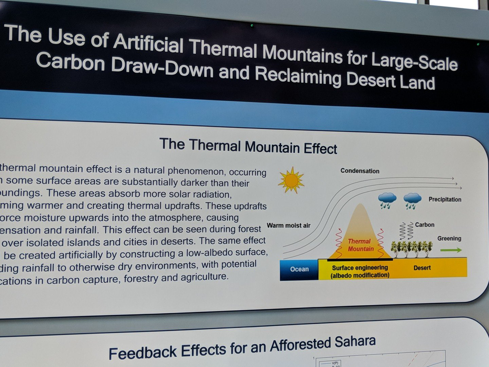"""My favorite poster in the """"wild ideas"""" for carbon removal category goes to this one on """"artificial thermal mountains."""""""