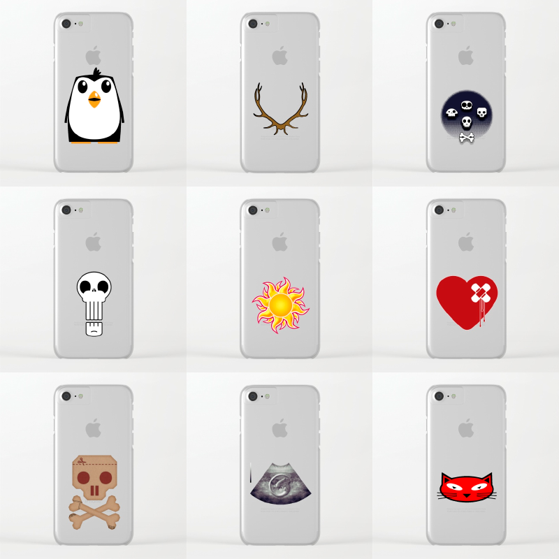 Just a few of my designs available on clear IPhone cases in my Society6 shop
