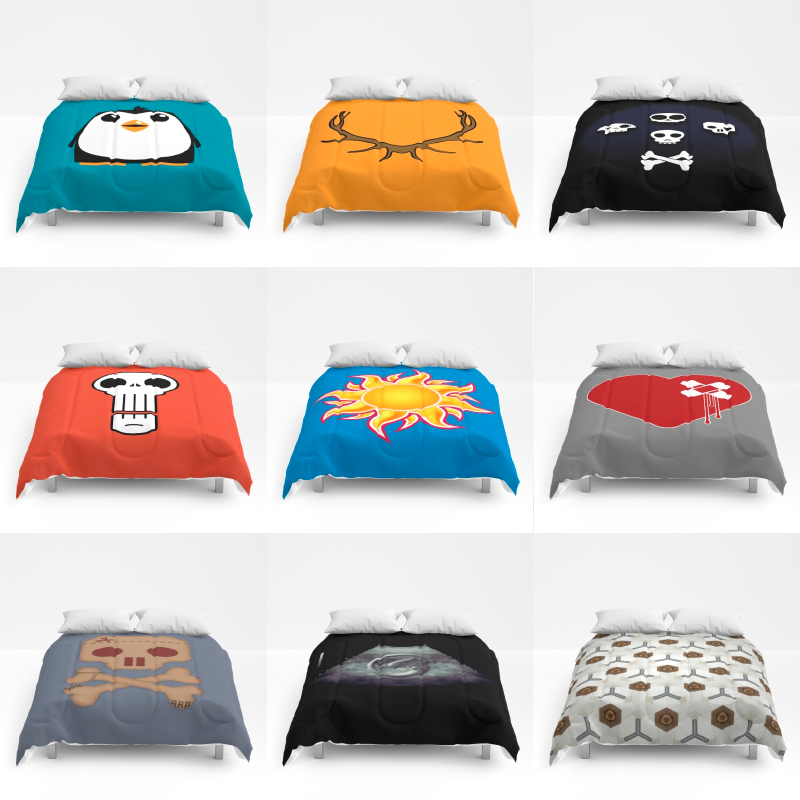 A selection of my work on comforters from my Society6 shop