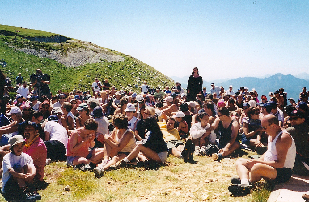 Singing at the top of Monte Baldo in Italy, 2001