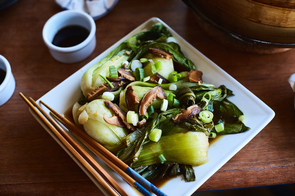 Chinese 5 Spice Pork Dumplings with Braised Bok Choy - Traveling Fork