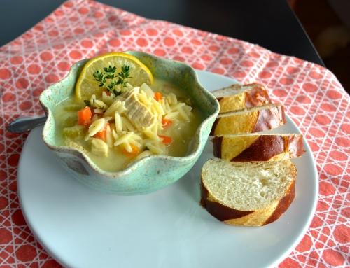 avgolemono - lemon chicken orzo soup | pale yellow