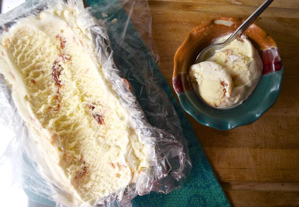 Guava Swirl Vanilla Ice Cream   Pale Yellow