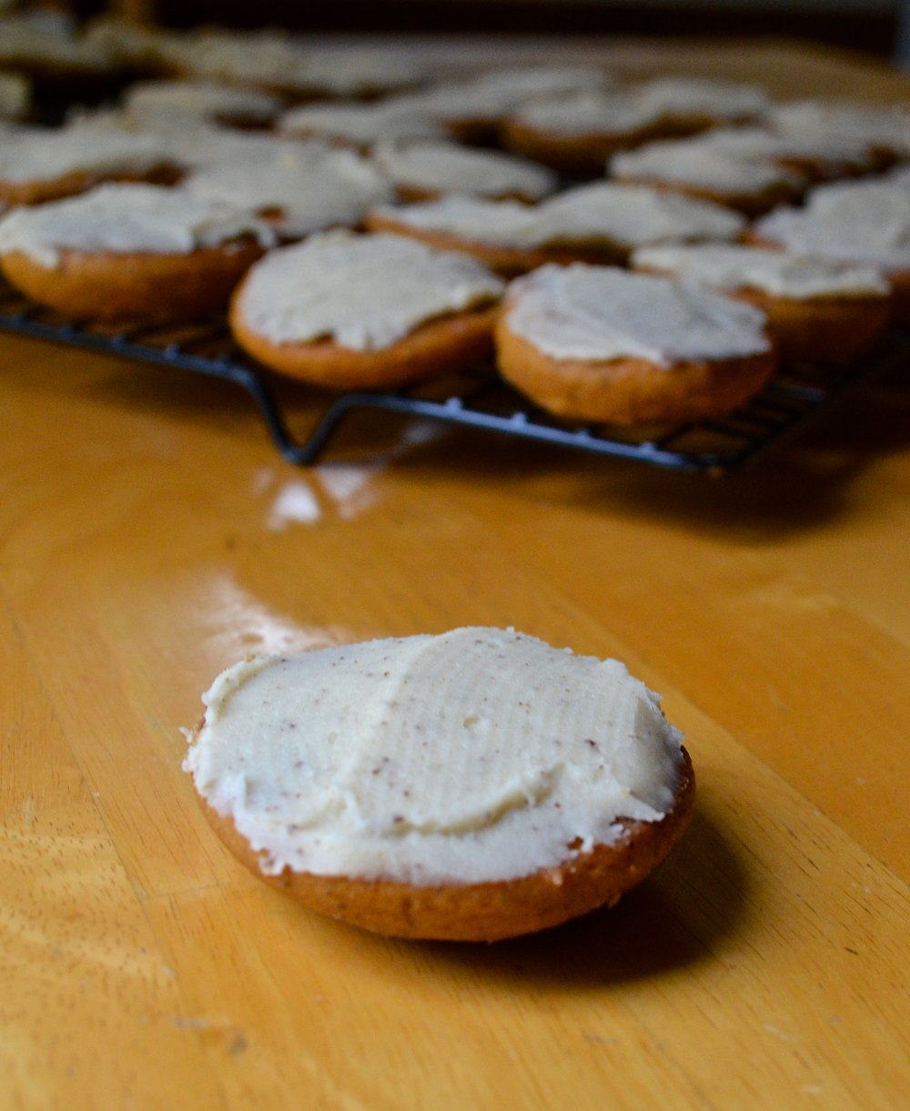 Pumpkin Spice Cookies with Brown Butter Frosting   Pale Yellow