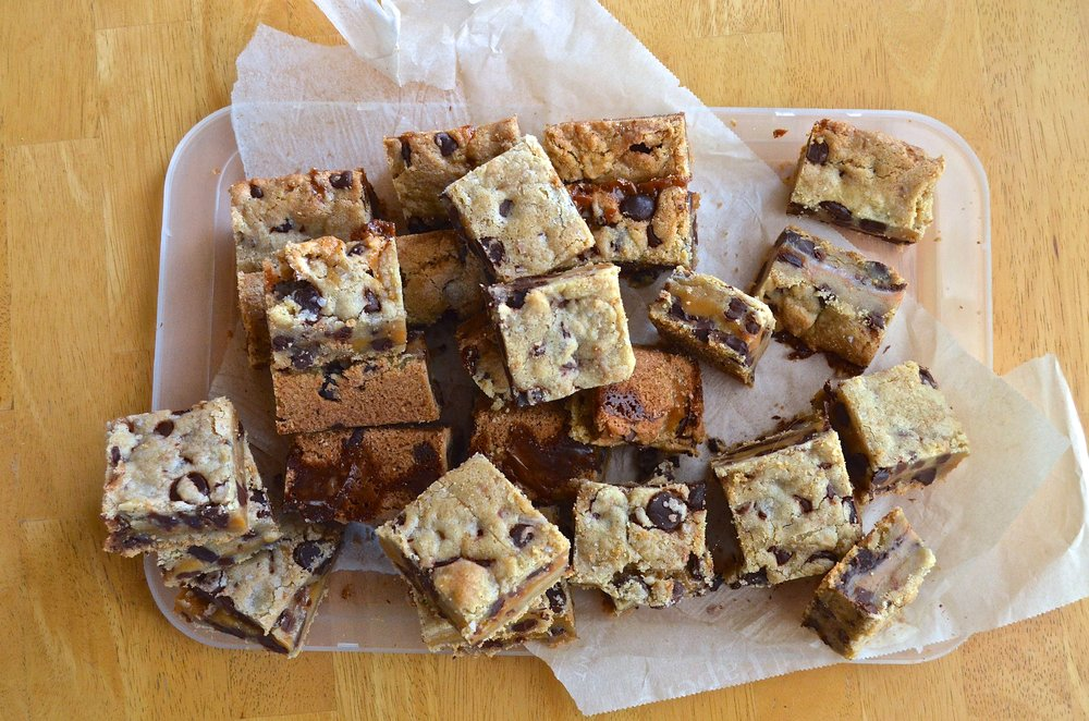Salted Caramel Chocolate Chip Cookie Bars   Pale Yellow