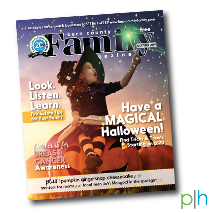 """GOLD WINNING COVER DESIGN - Awarded by Parenting Media Association, 2018Client: Kern County Family MagazineOctober 2018 issue""""The headline for the cover story is clearly and joyfully inspired by the magic and wonder in the photo. Good design skills are applied in the layering of the magic wand's glow over the title of the magazine."""""""