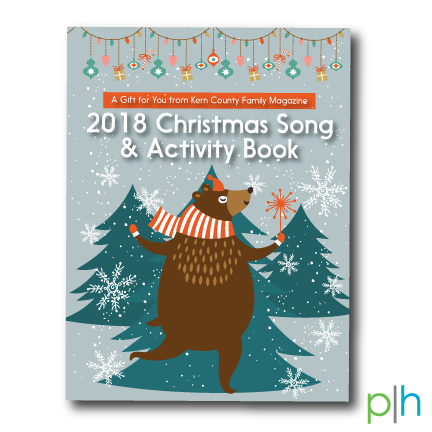 """SILVER WINNING COVER DESIGN - Awarded by Parenting Media Association, 2018Client: Kern County Family MagazineChristmas Song & Activity Book Insert, 2018""""The warm and joyous illustration elicits seasonal whimsy. The dancing bear sets the mood to have a little fun and make some memories. This is well conceived and executed."""""""