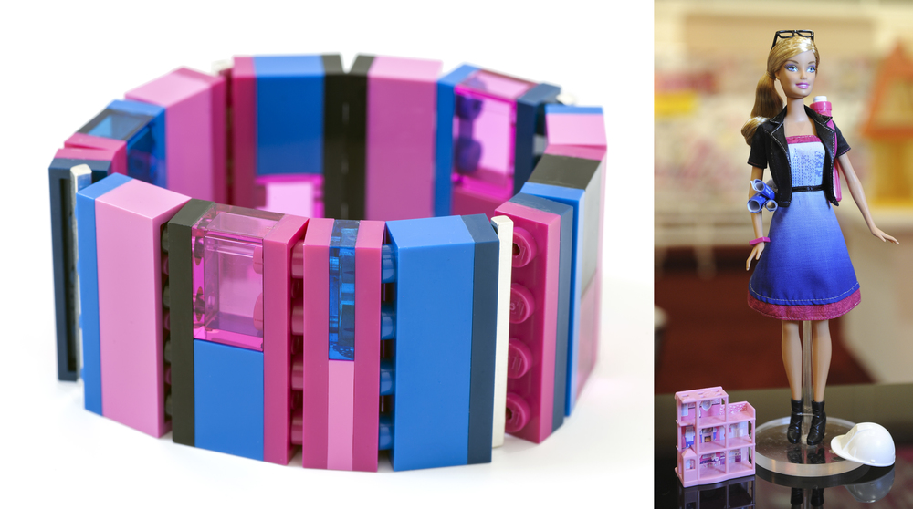 One-of-a-kind custom collaboration bracelet based on a Architect Barbie® palette