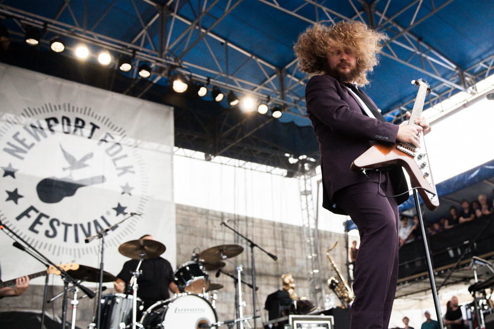Jim James performing at the Newport Folk Festival, 2013