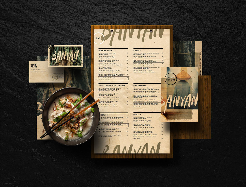 Branding for Banyan Bar + Refuge, an Asian gastropub in Boston's South End.
