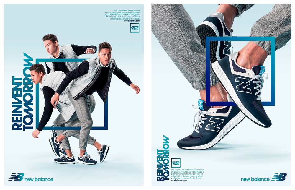 New Balance Omni Launch campaign and retail graphics.