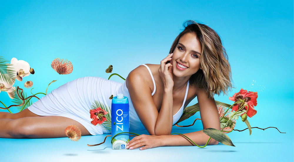 Zico Coconut Water campaign illustration and art direction featuring Jessica Alba.