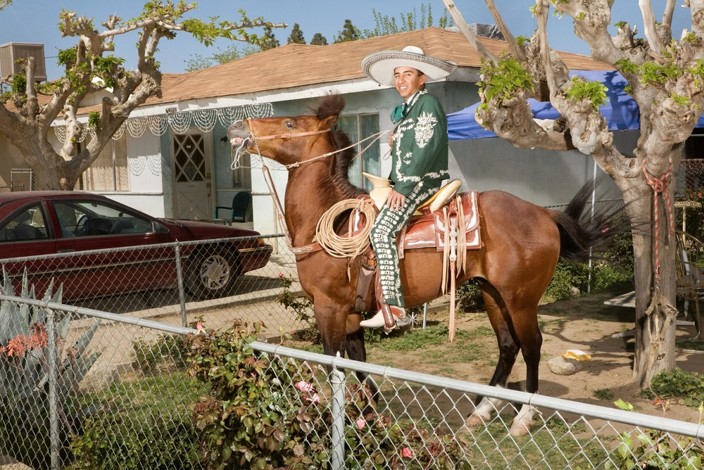 "Jose Saldaña on Chapulín in Lost Hills, CA. March 28, 2009. From the series ""Lost Hills."""