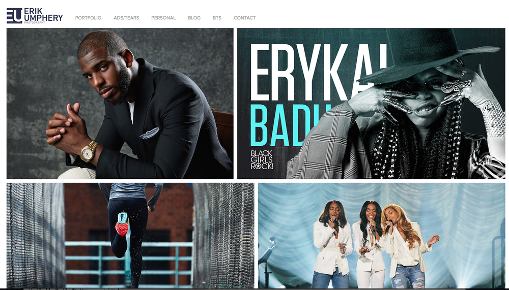 CLIENT: Erik Umphrey  PROJECT: Website User Experience, Design and Portfolio Edit.