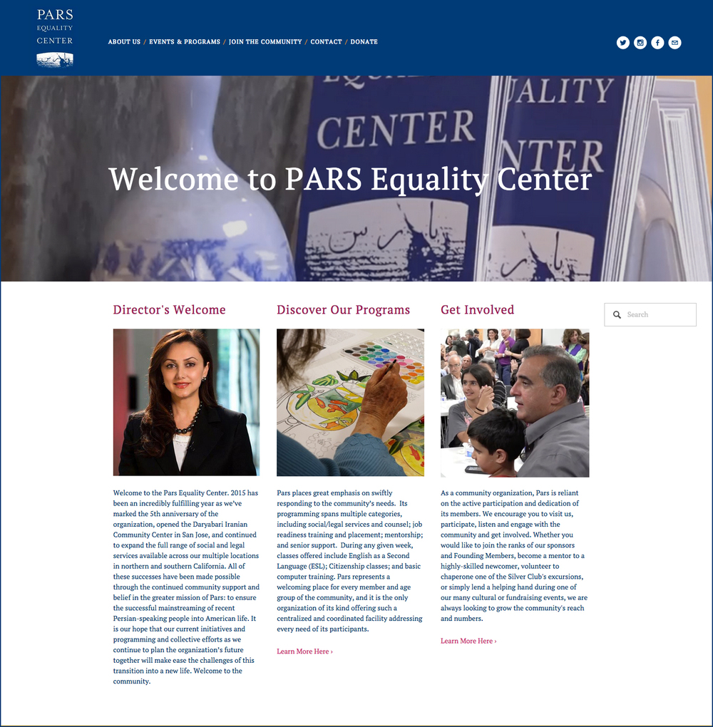 CLIENT: Pars Equality Center  PROJECT: Website and Social Media Strategy for the community building non profit
