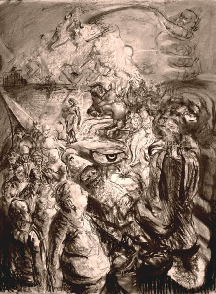 The Procession , Charcoal on paper, 48 x 36 inches