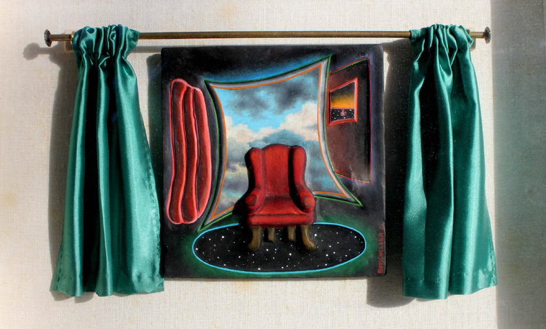 Another Performance.   1981.  Oil on clay with curtains. Framed in a shadowbox lined with linen.  Collection of the artist.