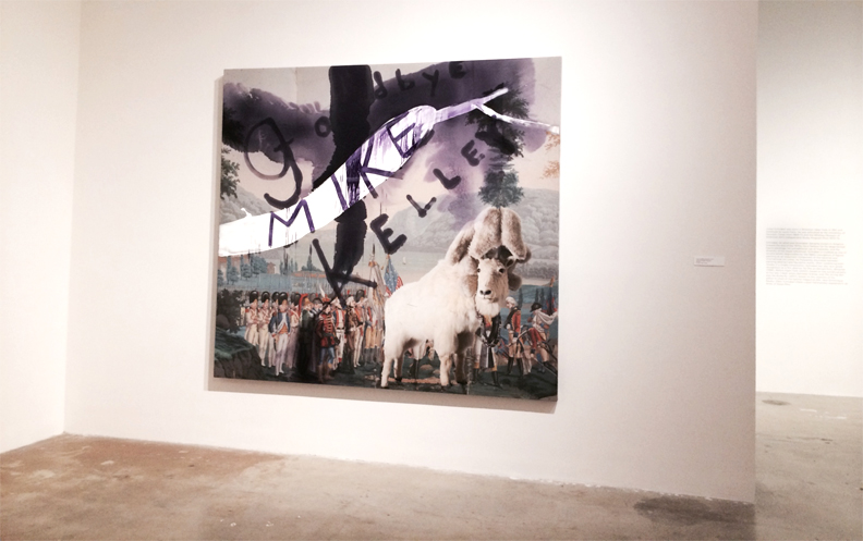 Julian Schnabel. A digital print on canvas with paint.  Two pieces of canvas adhered to wood I would assume to create the very large scale of the work