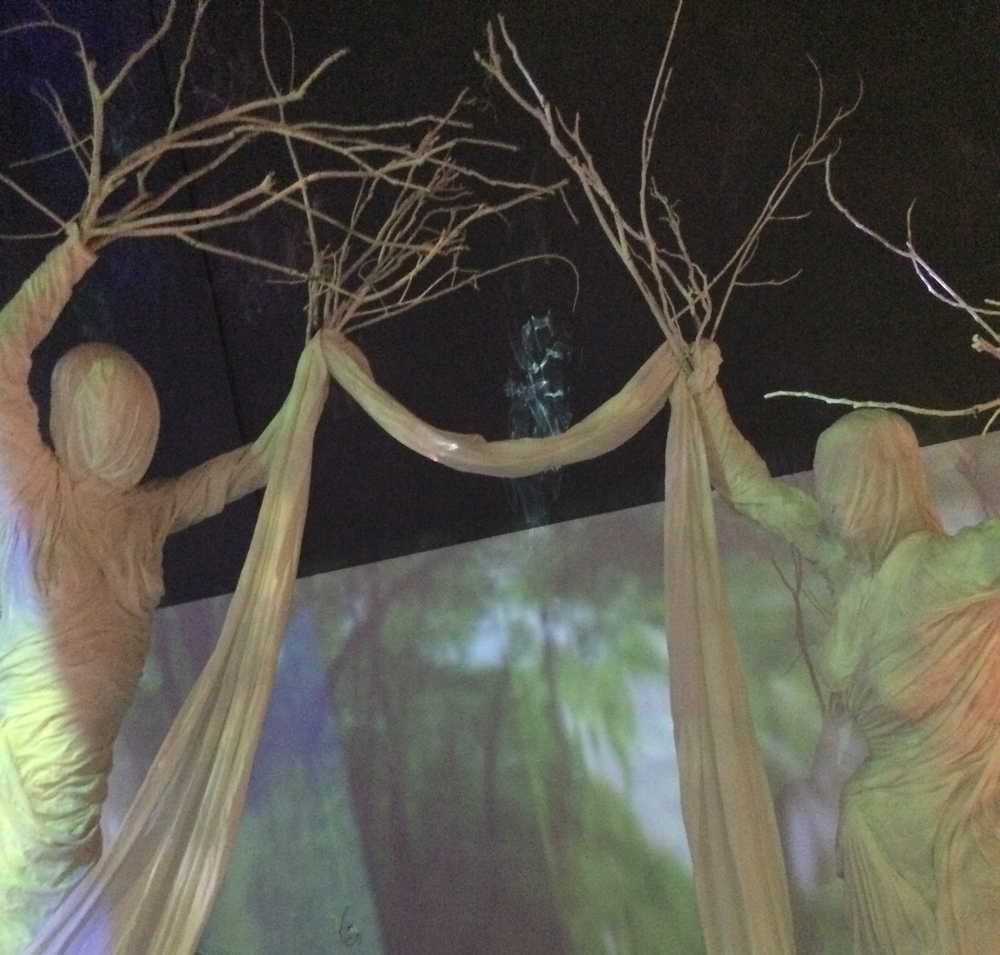 The installation is fabricated with sculpture, drapery and video projection.