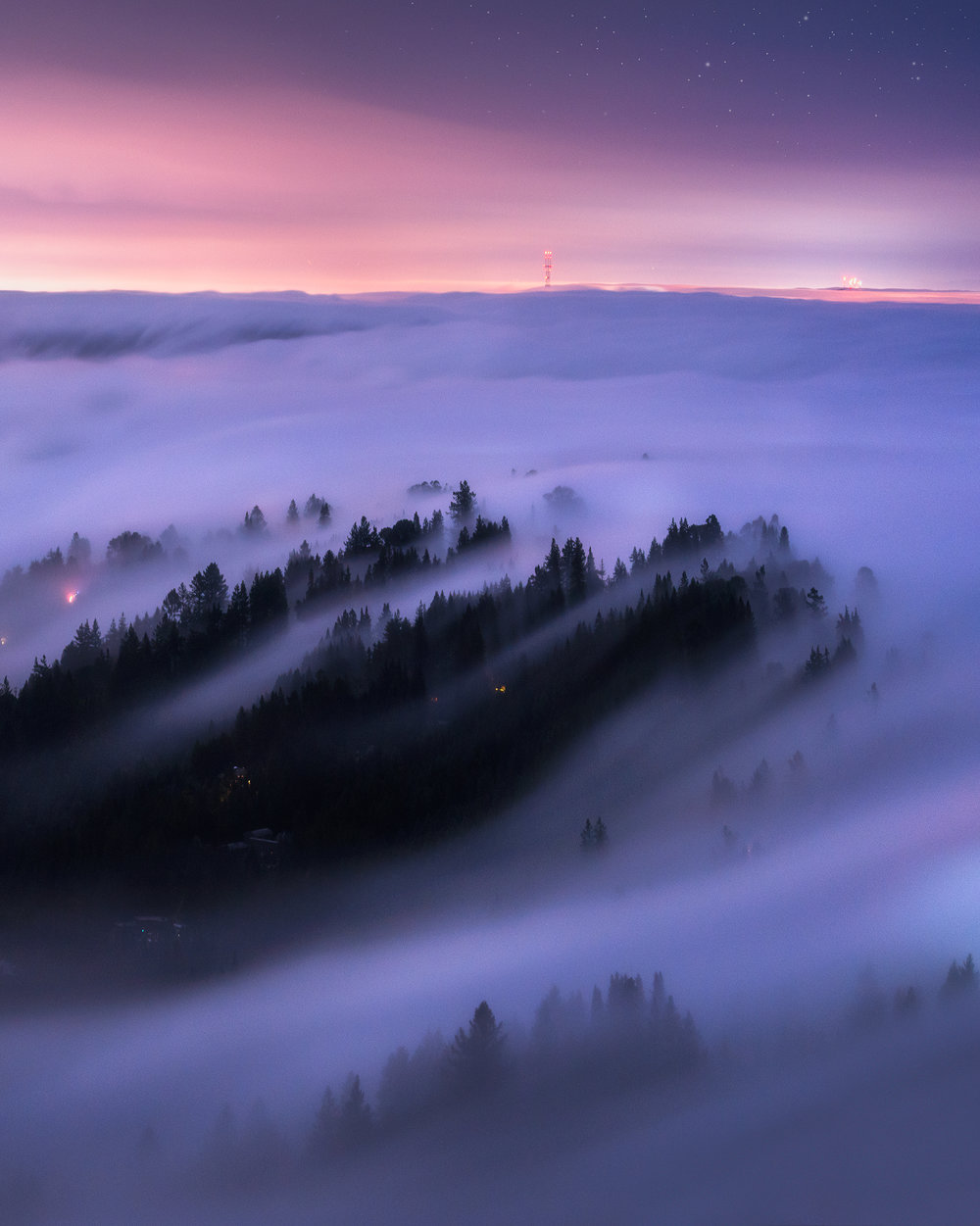 Moonlit Night Above the Fog- San Francisco, CA