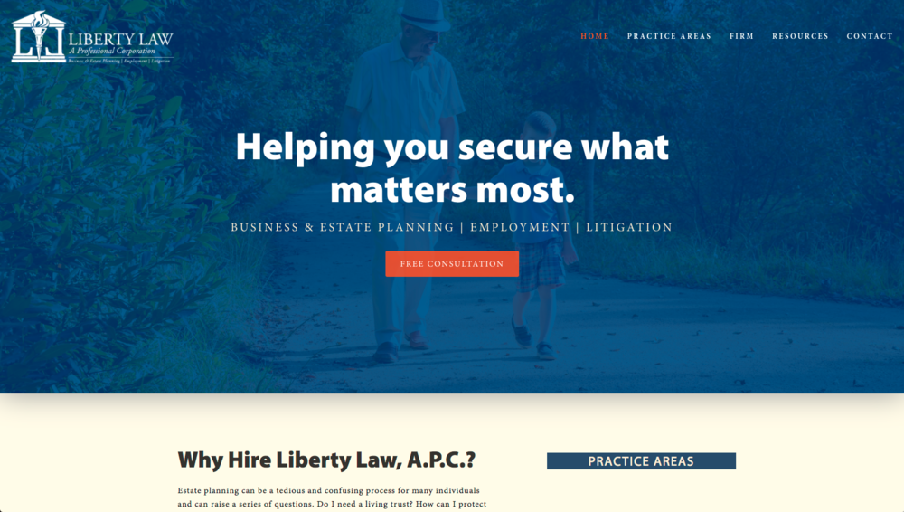 Liberty Law - APC, CPA & Attorney Website Design