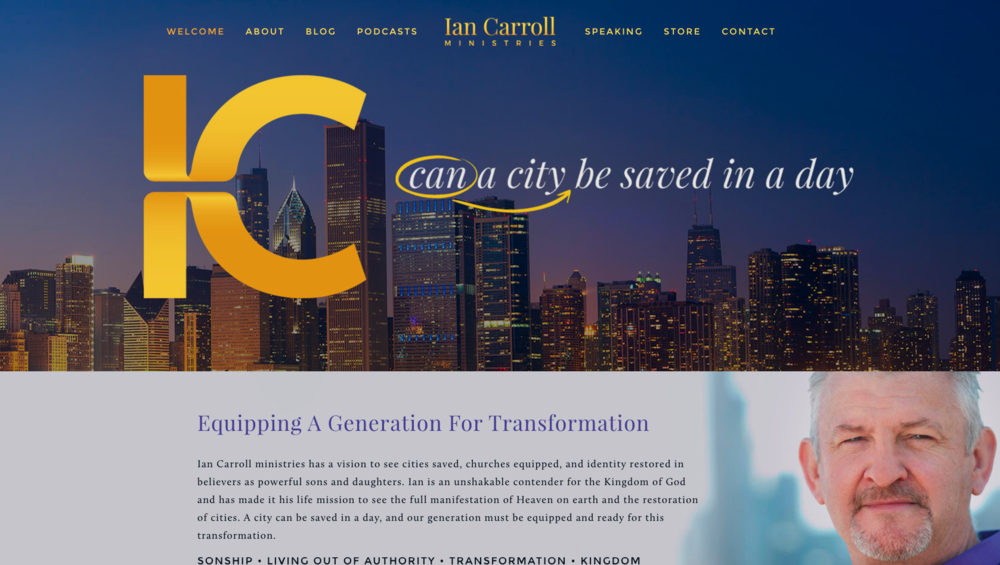 Ian Carroll Ministries Website Example
