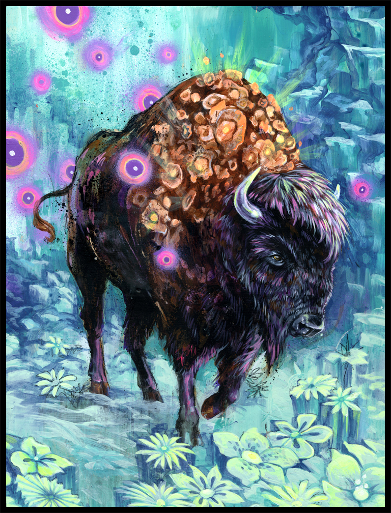 This was a commission from a friend. I have been wanting to paint a buffalo for a while now, in researching the beast I noticed how few paintings there are of buffalo... PAINT MORE BUFFALO!