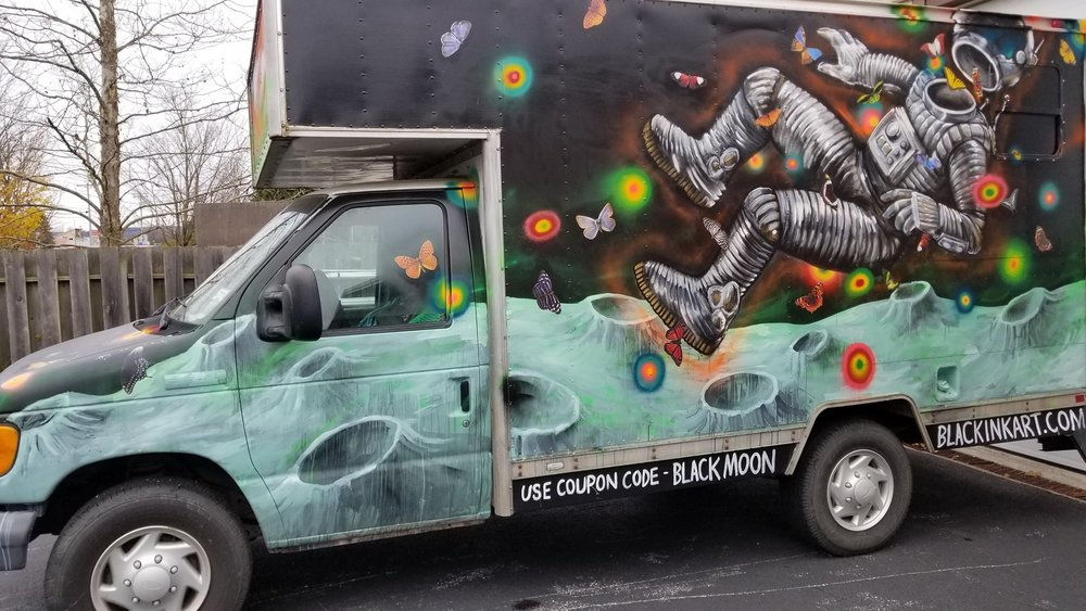Finally got around to painting my good friend Anthony's van at Hulaween this year. He's the founder of Moon Mats